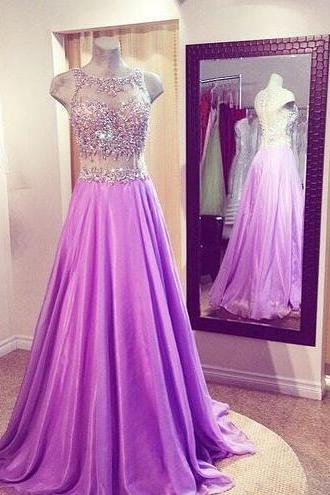 Custom Made Lavender Chiffon Prom Dress,2017 Beading Evening Dress,Floor Length Party Dress,High Quality Prom Dress