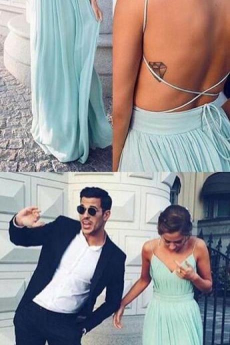 Charming Green Chiffon Prom Dress,Backless Cheap Prom Dresses,Sexy Prom Dress