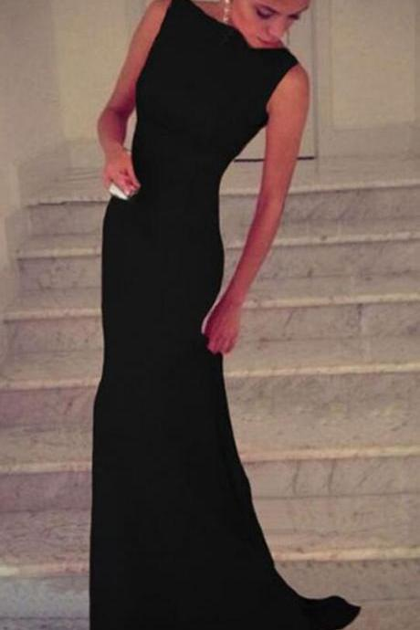Black Chiffon Prom Dress,Cheap Long Evening Dress,Sexy Prom Dress,Sexy Mermai Party Dress