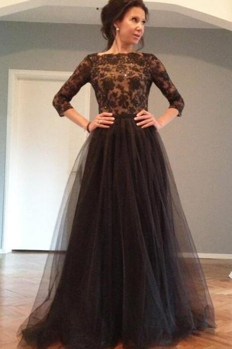 Black Lace Prom Dress,Long Sleeve Prom Dress With Beading Bodice,Cheap Prom Gown