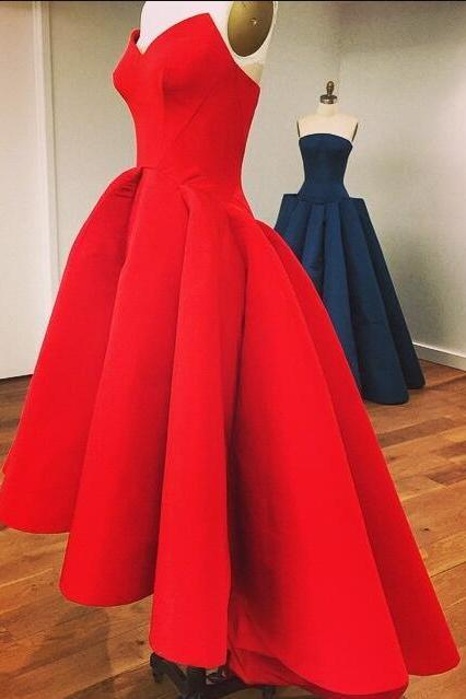 Fashion Red Satin Prom Dress,Tea Length High Low Prom Gown,Cheap short prom dress