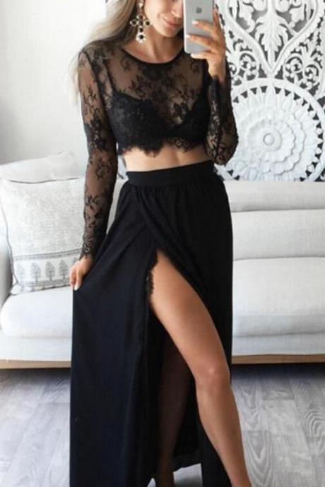 Two Piece Jewel Prom Dress,Long Sleeves Black Prom Dress with Lace Top,Long Evening Dress