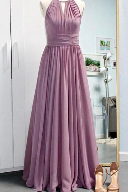 Simple Halter Chiffon Bridemsaid Dress,Light Long Purple Bridesmaid Dress,A Line Pleated Prom Dresses