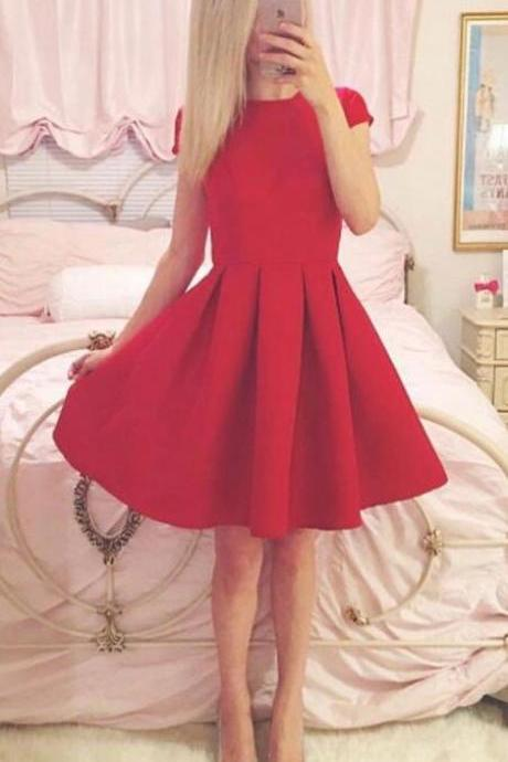 Cute Red Short Sleeve Homecoming Dress,A Line Round Neck Party Dress,Short Prom Dresses