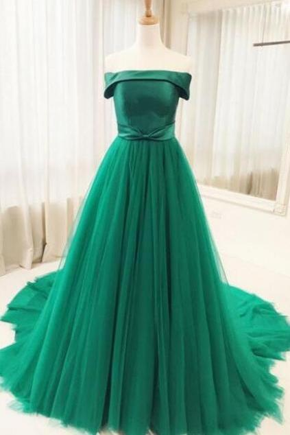 Green Tulle Long Prom Dress,Cheap Party/Evening Dresses,Sweep Train A Line Prom Dresses