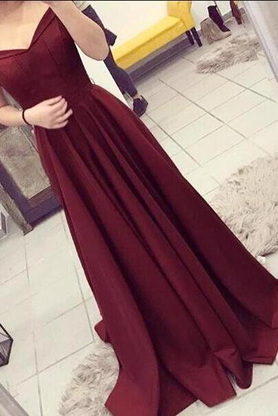 Burgundy A line Prom Dress,Sexy Off Shoulder Prom Dress,Glamorous Sweep Train Evening Dresses