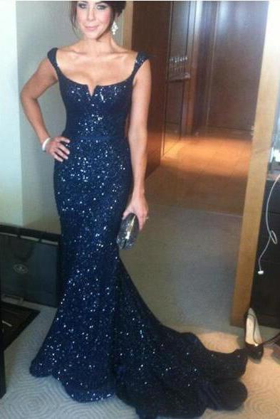 Cap Sleeve Navy Blue Sequined Prom Dress, Sexy Mermaid CHeap Prom Dress, Evening Dress,Floor Length Formal Gowns