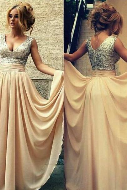 Sequin Prom Dress,Gold Sparkly Prom Dress,Long Gold Chiffon Bridesmaid Dress,Sexy Gold Bridesmaid Dress