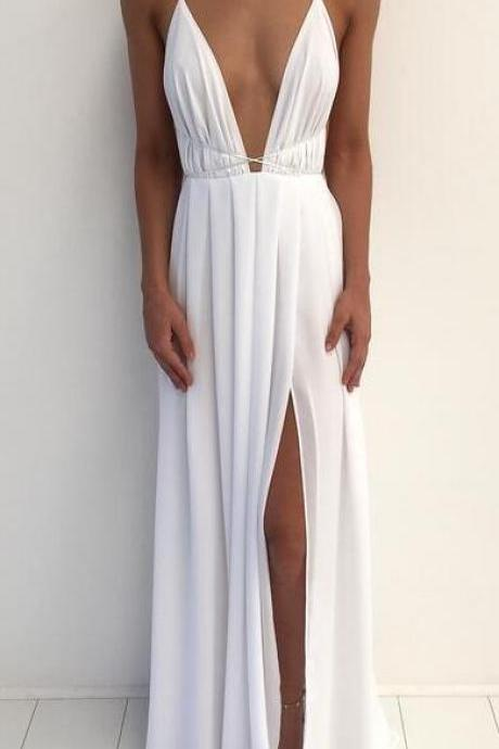 Spaghetti Strap White Prom Dress,Long Chiffon Prom Dress, Maxi Dresses Slit Side Evening Gowns