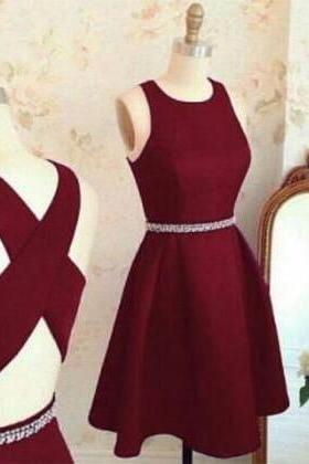 Burgundy Round Neck Beaded A-line Knee-Length Homecoming Dress, Prom Dress, Graduation Dress with Crisscross Back
