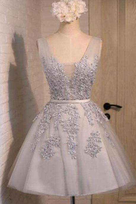 Applique Lace Homecoming Dress,Tulle Prom Dress,Short Prom Dress, Cheap Party Dress