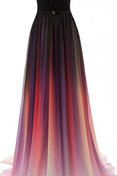 Gradient Chiffon Strapless Floor Length Pleated A-Line Prom Dress