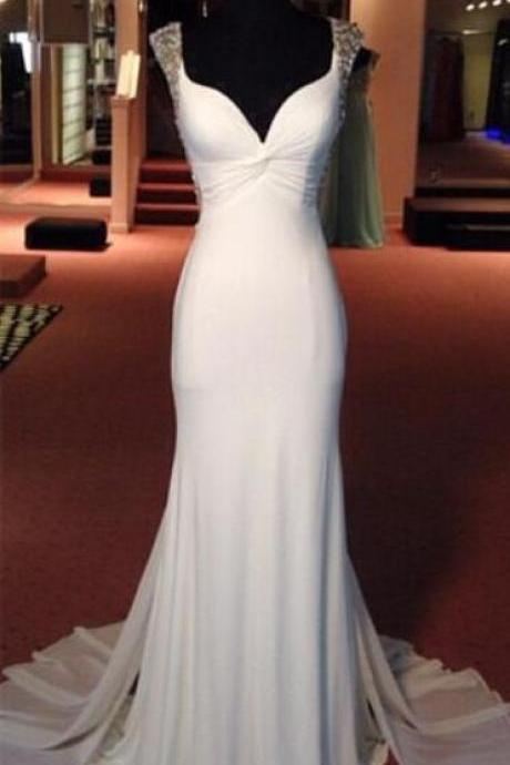 White Mermaid Prom Dress,Beaded Prom Dress,Fashion Cheap Prom Dress, Cheap Party Dress, 2017 Evening Dress