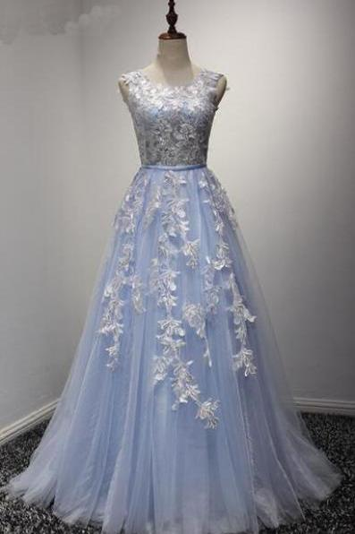 Elegant Blue Tulle Prom Dress, Sleeveless Long Lace Appliques Prom Dress, Senior Prom Dress, Cheap Long Prom Evening Dress