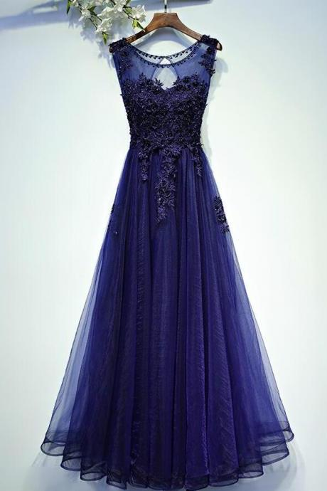 Charming Navy Blue Long Tulle Prom Dress, 2017 Long Prom Dresses, Woman Evening Dress, Formal Prom Dress