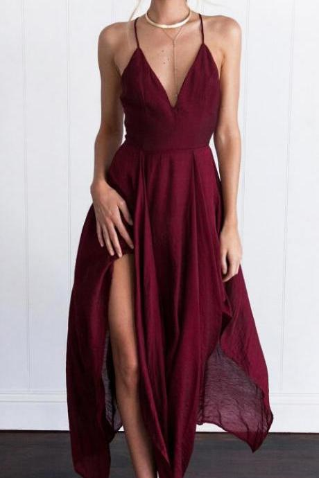 Simple Wine Red Long Prom Dress,Sexy Cheap Prom Dress, Cross Back Chiffon Evening Dress