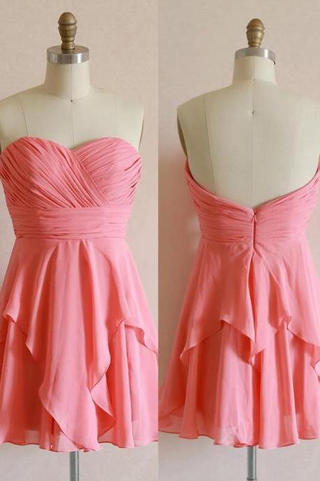 A-Line Chiffon Graduation Dress, Homecoming Dress, Cheap Sweetheart Graduation Dress ,Short Homecoming Dress