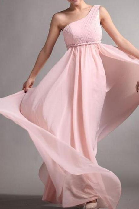 Beautiful Elegant Chiffon Bridesmaid Dress ,One Shoulder Bridesmaid Dress Long Graduation Dress