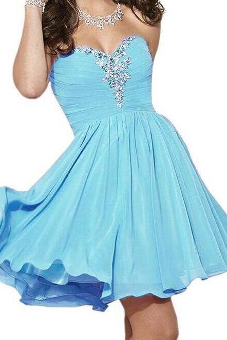 Short Chiffon Homecoming Dress,Beading Homecoming Dress,Sweetheart Homecoming Dress, Short Noble Prom Dress