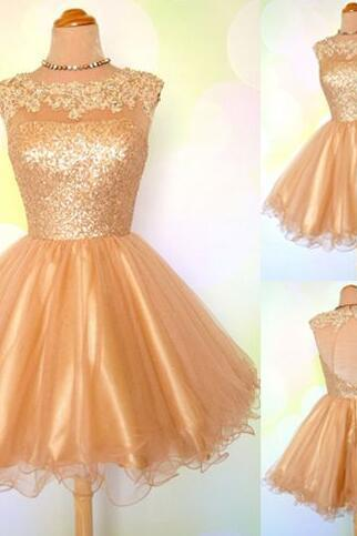 Gold sequin Prom dress, open back short Homecoming dress, scoop neck lace homecoming dress, cheap evening dress