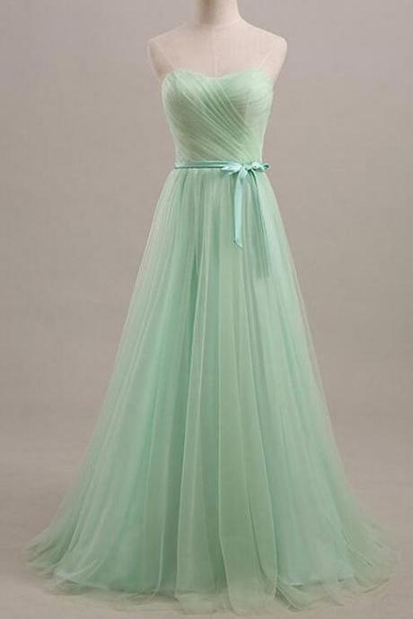 A-line Mint green Bridesmaid dress, Tulle prom dresses,strapless Bridesmaid dress, Cheap prom dress