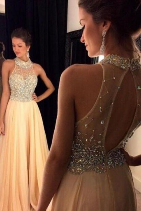 Beading Halter Light Champagne Prom Dress ,Long Chiffon Prom Gowns ,Cheap Prom Dress,Graduated Dresses Homecoming Dress