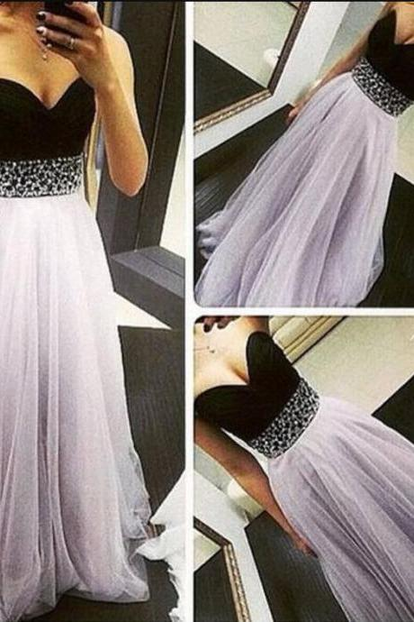 Long Chiffon Long Prom Dresses,Simple Beaded Sashes Prom Dress, Light Purple Tulle Prom Dress,Floor-length Evening Dress