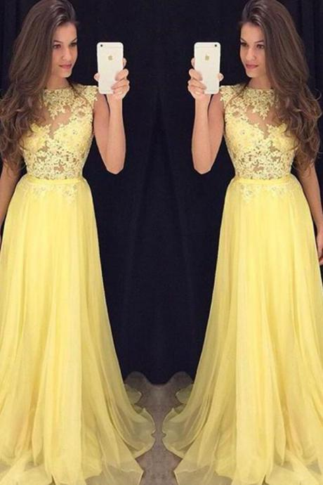 Yellow Chiffon Long Prom Dresses ,Lace Top Prom Dress,Cheap Prom Dress,Floor Length Evening Dress Party Dress,Chiffon Homecoming Dress