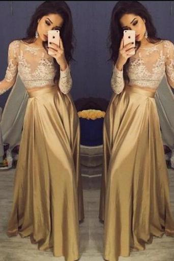 Charming Long Sleeve Prom Dress,Cheap A Line Prom Dress,Lace Prom Dress,Appliques Prom Dress,Sexy Satin Prom Dresses