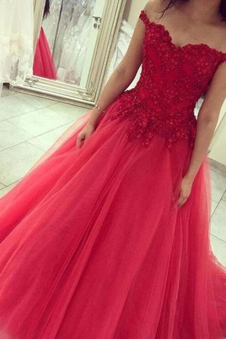 Beauty Red Tulle Prom Dress,Off Shouder Prom Dress,Cheap Tulle Prom Dress,Evening Formal Dress,Women Dress