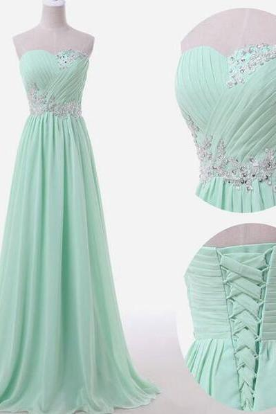 Mint Green Bridesmaid Dress,Sexy Prom Dress,Sweetheart Bridesmaid Dress,Backless Prom Dress,Chiffon Prom Dress,A-Line Evening Dress