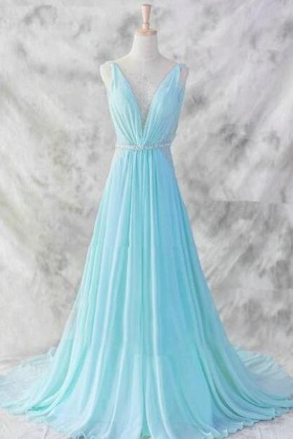 Floor Length Chiffon Prom Dress,Charming Blue V-neckline Prom Gown 2017,Baby Blue Evening Dresses,Blue Formal Dresses,Formal Dresses