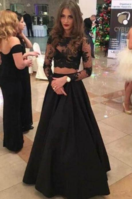 Charming Two Piece Prom Dress,A-line Lace Prom Dress, Long Sleeves Evening Dress,Black Evening Dress,Formal Gowns