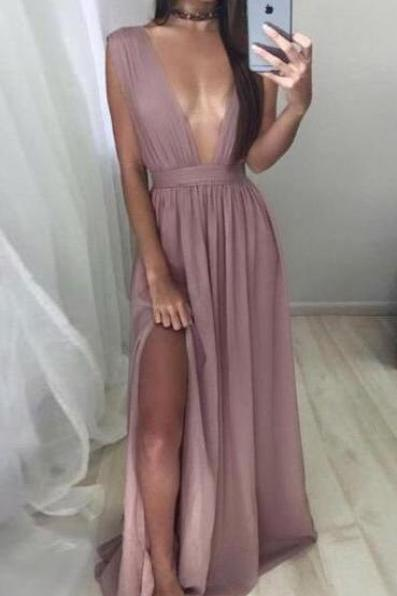 Sexy V-neck Simple Prom Dress,CHeap Long Chiffon Prom Dress with Slit,Blush Evening Dress