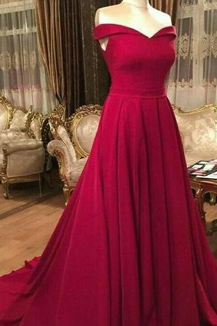 Red Sweetheart Prom Dress,Long Formal Dress,Off the Shoulder Sweep Train Prom Dress,Simple Formal Dress