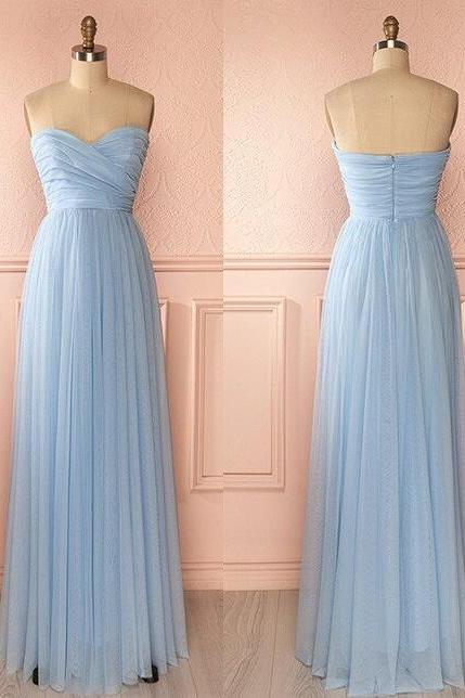 Ligh Blue Floor Length Prom Dresses,Elegant Bridesmaid Dress,Simple Chiffon Bridesmaid Dresses