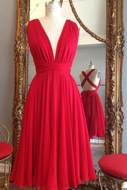Simple V neck Red Short Bridesmaid Dress,Chiffon Bridesmaid Dress,Cross Back Short Prom Dresses