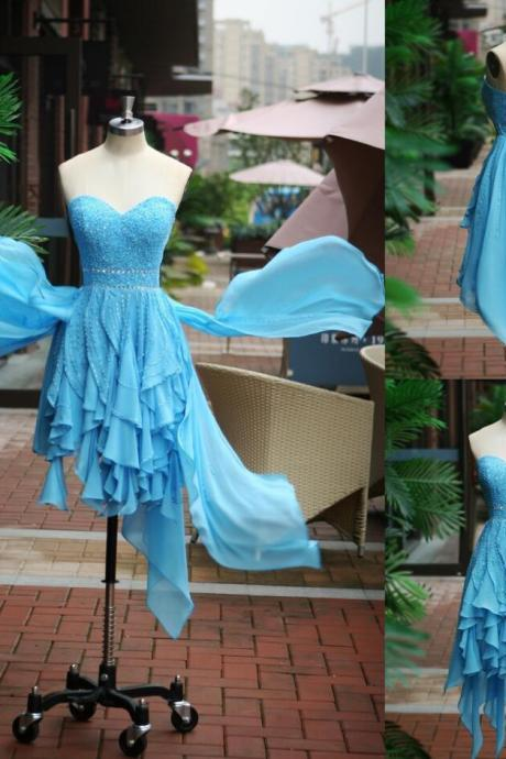 Short Beaded Prom Dress,Blue Prom Dress,Sweetheart Prom Dress,Chiffon Prom Dress,Blue Evening Dress, Short Evening Dress,Formal Dress, Homecoming Dresses, Graduation Dress, Cocktail Dress, Party Dress