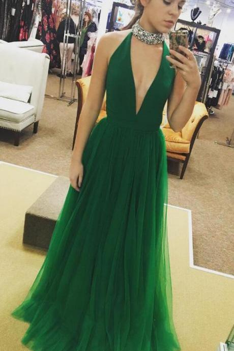 Cheap Sexy Deep V-neck Prom Dress,Tulle Long Prom Dress,Simple A-line Sleeveless Prom Dress Formal Evening Gowns 2018