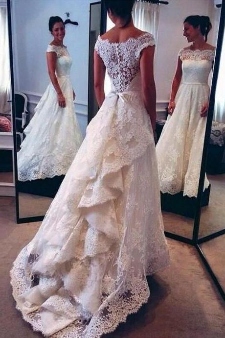 Custom Made Vintage Lace Wedding Dress, Bridal Gown,Wedding Dress for Bride ,Bridal Dress for Women ,Wedding Dress Plus Size ,Wedding Dress
