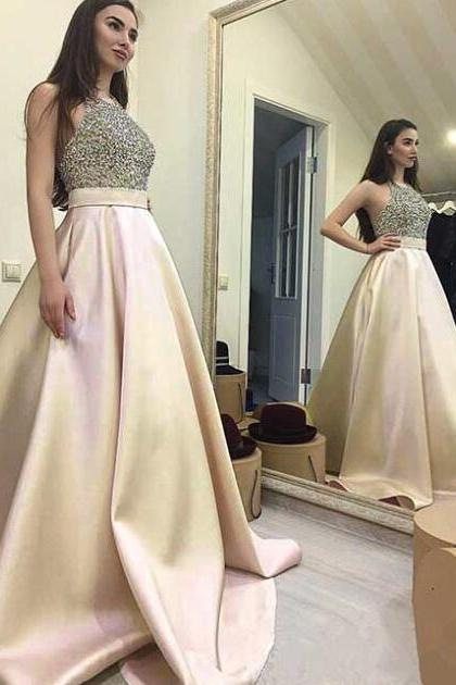 Custom Champagne Prom Dress,Sexy Prom Dress,Halter Prom Dress with Pockets ,Prom Dress Long ,Backless Prom Dress,Unique Prom Dress,2017 Prom Dress