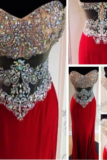 Beaded Prom Dress, Sparkling Red Long Prom Dress,Sexy Prom Dress,Sheer Prom Dress,Handmade Prom Dress with Sequin,Women Formal Prom Dress