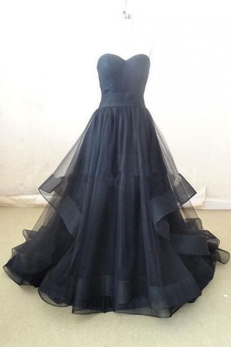 Elegant Black Prom Dress,Cheap Prom Dress,Tulle Sweetheart Long Prom Dress, Prom Dresses , Prom Gowns, Party Dresses