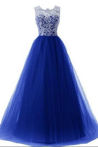 Royal Blue Lace Appliques Crew Neck Sleeveless Floor Length Tulle Prom Gown, Evening Gown