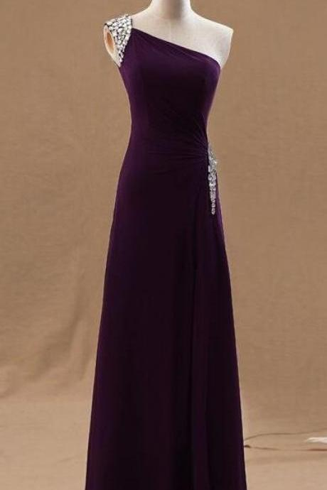 Beauty Chiffon One Shoulder Beaded Prom Dress,Pretty Long Slit Prom Dresses, Prom Dresses 2018, Purple Evening Gowns