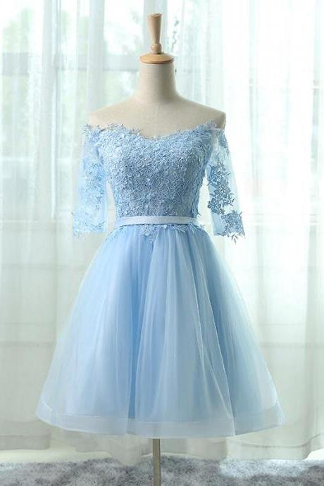 Beauty Simple Lace homecoming Dress,Off-the-shoulder Appliqué Short Homecoming Dress in Light Blue,Short Prom Dress