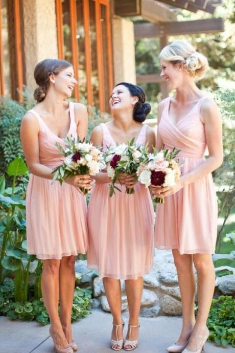 Simple A-Line Knee Length Bridesmaid Dress,Bridesmaid Dress,V-Neck Bridesmaid Dress,Pink Bridesmaid Dress with Ruched