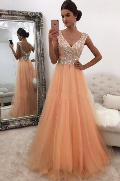 Sexy Tulle Beaded Prom Dress,Tulle Long Prom Dress with Low Back,Cheap Prom Dress