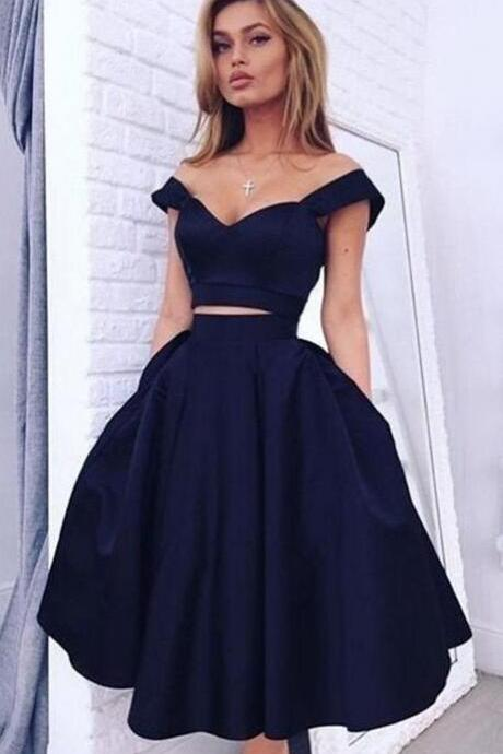 Beauty Off Shoulder Prom Dress,Sexy Navy Porm Dresses,Cheap Satin Homecoming Dress,Elegant Homecoming Dresses,Short Evening Dresses
