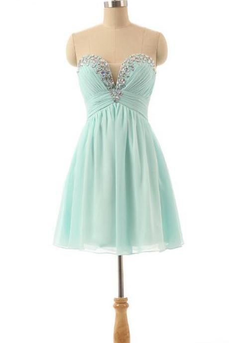 Crystals Short Tulle Homecoming Dresses ,Sweetheart Prom Dress,Cheap Chiffon Prom Dress